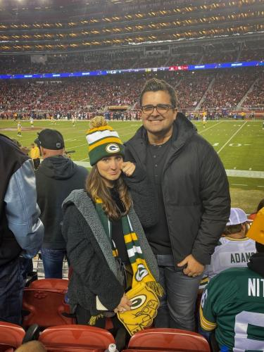 Chase Norton at the Packers vs 49ers game with his wife Jenee Norton